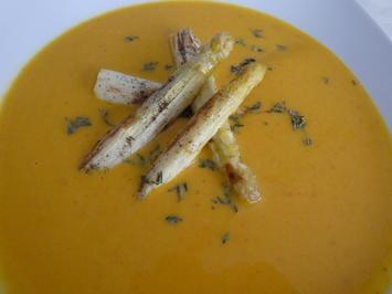 Hokkaido-Suppe mit gebratenem Spargel - Rezept - Bild Nr. 2
