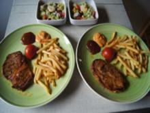 Nackensteak mit Pommes Frites und gemischten Salat mit Wachteleiern - Rezept - Bild Nr. 2