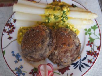 Falsche Kalbsschnitzel mit Spargel und pikanter Sauce - Rezept - Bild Nr. 2