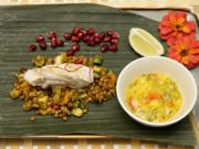 Seychellen – Orient – Südamerika: Seeteufelfilet aus dem Bananenblatt an Linsensalat - Rezept - Bild Nr. 14305