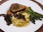 Coeur de filet de boeuf, sauce à l'estragon, légumes et tagliatelles maison - Rezept - Bild Nr. 14307