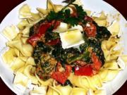 Scharfe Spinatzubereitung auf Pasta - Rezept - Bild Nr. 14324