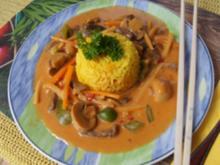 Rindfleisch mit Gemüsemix in roter Currysauce mit Basmatireis - Rezept - Bild Nr. 14361