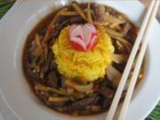 Rindfleisch mit Zwiebeln, Bambus und Basmatireis - Rezept - Bild Nr. 14512