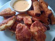 Hähnchen Nuggets mit Brot Pommes an Chili Cheese Soße zur kochbar Challenge September 2021 - Rezept - Bild Nr. 14604