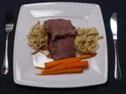 Entrecote auf Weißbiersauce mit glasierten Möhren und Trüffelpasta - Rezept - Bild Nr. 14664