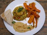 Zimt-Möhren auf einem Erdnuss- Humus-Bett mit Feigen-Minz-Couscous-Salat - Rezept - Bild Nr. 2