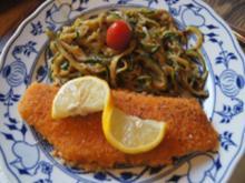 Seelachsfilet paniert in knuspriger Panade mit Zucchini Spaghetti - Rezept - Bild Nr. 2