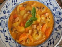 Gelbe Curry-Gemüse-Pfanne mit Fleischwust - Rezept - Bild Nr. 2
