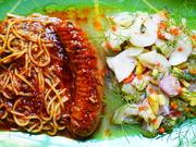 Bratwurst mit Spagetti in Fleischsauce und gemischtem Salat - Rezept - Bild Nr. 14700
