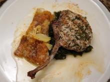 Kotelett vom Duroc-Schwein vom Grill mit Kartoffelgratin, Blattspinat und Tomatenschaum - Rezept - Bild Nr. 2