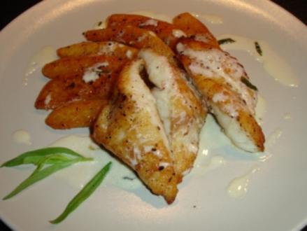 Petersfisch mit sautierten Kürbisstücken und Estragonsauce - Rezept