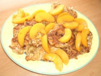 Puten-Mandel-Schnitzel mit Pfirsichen - Rezept
