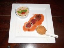 Lebkuchenmousse u. Zimteis mit Amarettinimantel auf Apricotbrandysoße - Rezept