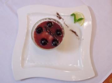 Gefangene Sauerkirschen auf einer Cheesecake-Insel - Rezept