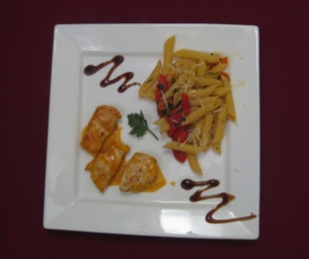 Penne a la Peperonata mit Hähnchenbrustfilet an Sweet-Chili-Soße - Rezept By Das perfekte Dinner
