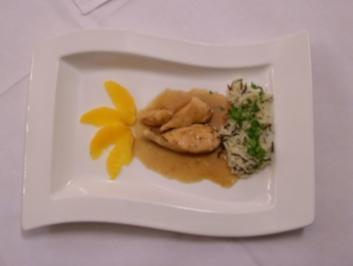 Hähnchenhäppchen in süß-sauer Orangensoße mit karibischem Reis - Rezept