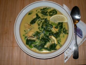 Rezept: Puten-Kokos-Suppe mit Spinat