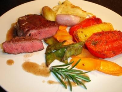 Medaillons vom Rinderfilet mit Gemüse - Rezept