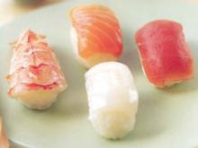 Nigiri mit Garnelen, Lachs oder Thunfisch - Rezept