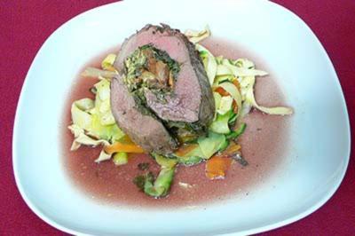 Kräuter-Rinderroulade mit Gemüsepapardelle - Rezept