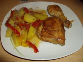 Hähnchen auf Paprikagemüse - Rezept
