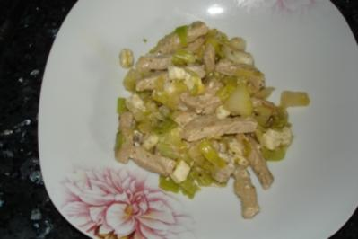 Hähnchen-Lauchpfanne (mit Birne) - Rezept