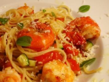 Spaghetti mit Orangen-Garnelen - Rezept