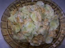 gelbe Bohnen Gurkensalat mit Schmand - Rezept