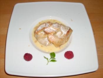 Gebratene Birnen im Schlafrock mit Ingwer-Karamell - Rezept