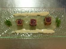 Tunfisch-Sashimi in Sechuanpfeffer auf schwarzem Rettichcarpaccio - Rezept