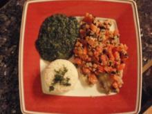 Rotbarsch mit Olivenkruste und Spinat - Rezept