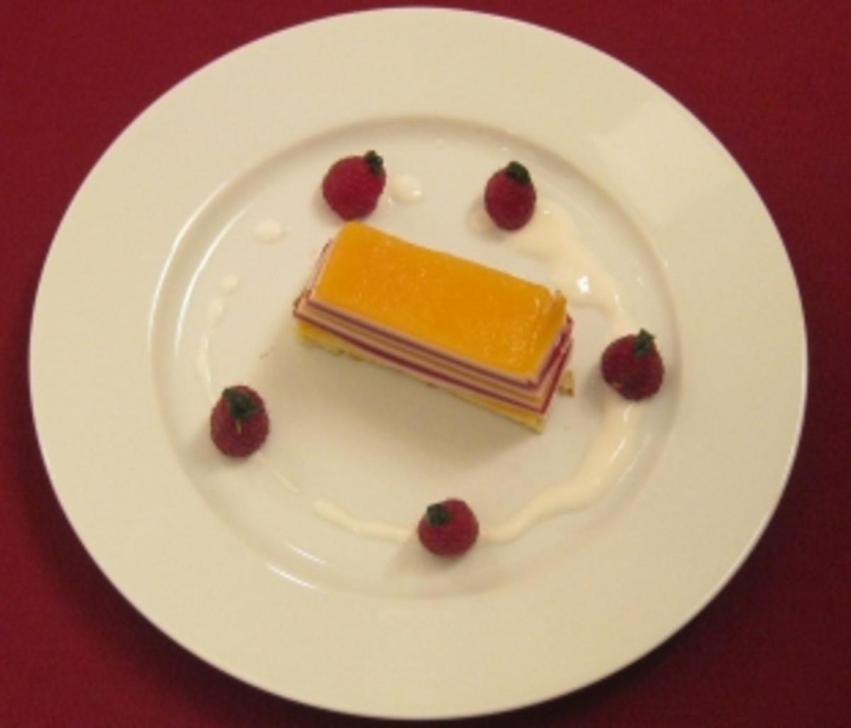 Joghurtterrine Pfirsich Melba Rot Gelb Wei Gestreift