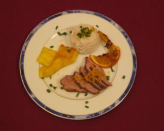 Ente a l´orange - Canard poele a l´orange et a l´ananas avec son riz basmati - Rezept