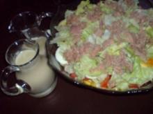 Schichtsalat mit Thunfischsoße - Rezept