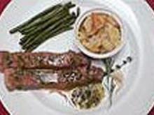 Ribeye vom Wagyu-Kobe-Rind an Anchovisoße, grünen Bohnen und Kartoffelgratin - Rezept