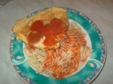 Nudeln mit Tomatensauce und Rührei - Rezept