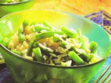 Grüne Bohnen mit Reis - Rezept