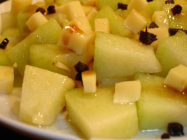 Melonendessert mit Gouda und Trüffelhonig - Rezept