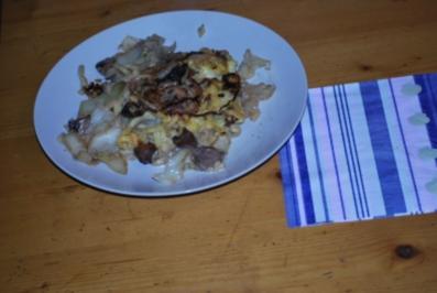 Käse-Spätzle mit Kraut und Pilzen - Rezept