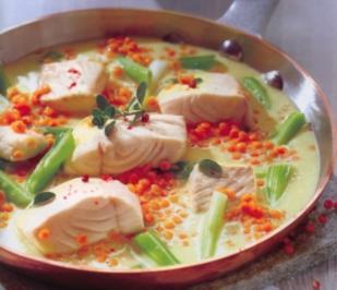 Fischpfanne mit Kokoslinsen - Rezept