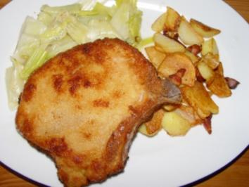 Gemüse : Porree - Gemüse mit paniertem Kotelett und Röstkartoffeln - Rezept