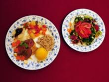 Damwildsteak mit Kartoffeln, Spätzle, Gemüse und Salaten (Julia Kent) - Rezept
