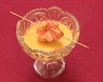 Rezept: Scampi-Spießchen auf Karotten-Ingwersuppe (Thorsten Havener)