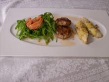Schweinesteak mit gegrillten Käse-Bananen und Rucola-Erdbeer- -Salat - Rezept