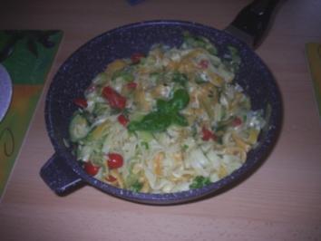 Nudeln - Nudel-Zucchini-Pfanne mit Mozzarella - Rezept