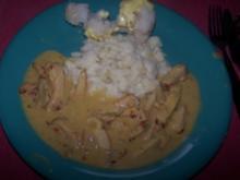 Hänchenstreifen in Mango-Curry-Sahne - Rezept