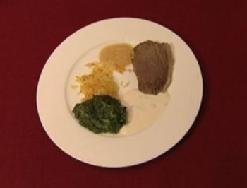 Tafelspitz mit Rösti, Spinat, Apfelkren und Schnittlauchsoße - Rezept