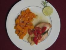Hühnerfilet in Caipirinha-Soße mit pikanten Süßkartoffeln - Rezept