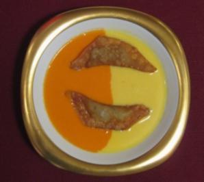Suppe von zweierlei Paprika mit Elch-Wan-Tan - Rezept